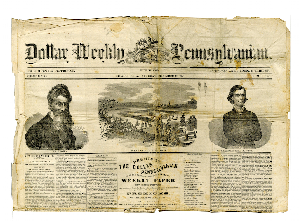Philadelphia Newspaper - John Brown's execution